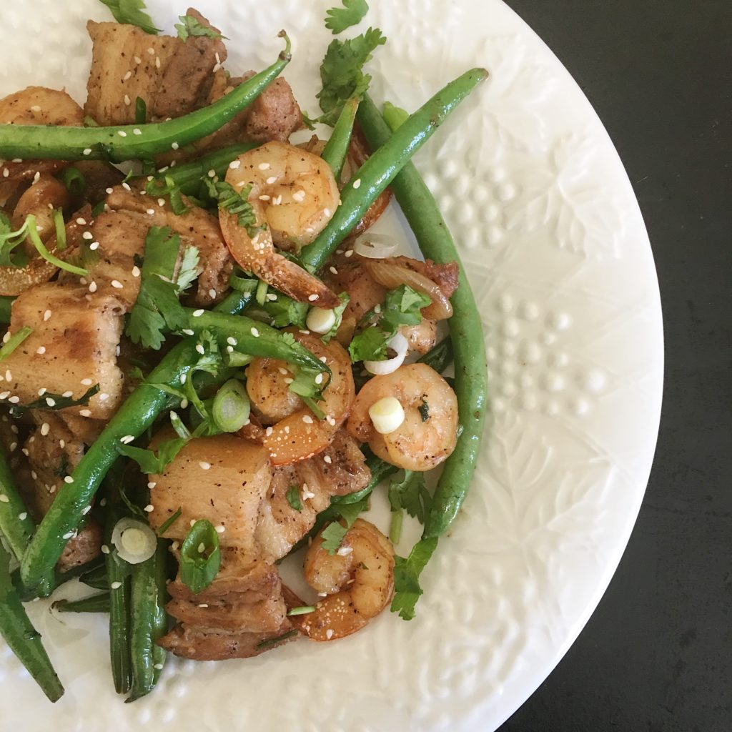 Braised Pork Belly and Shrimp Stir Fry