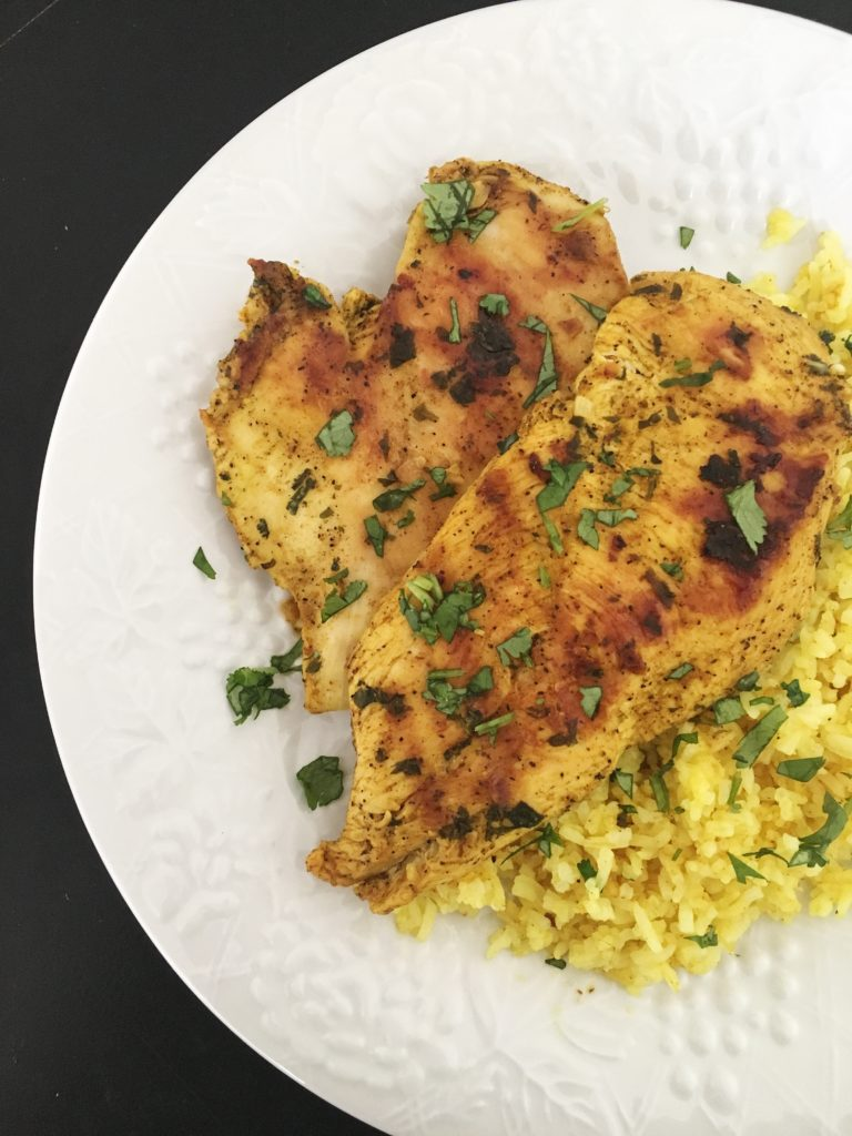 Grilled Moroccan Chicken with Turmeric Rice