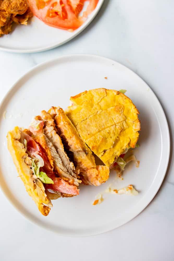 air fryer crispy chicken sandwich cut in half