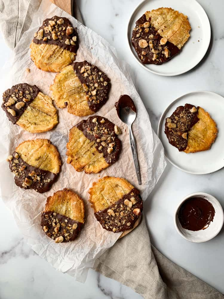 chocolate hazelnut tostones with melted chocolate on the side