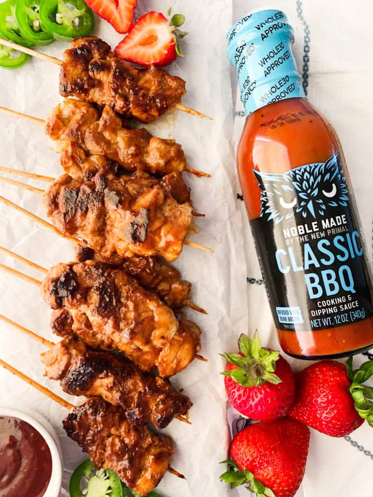 strawberry bbq chicken skewers