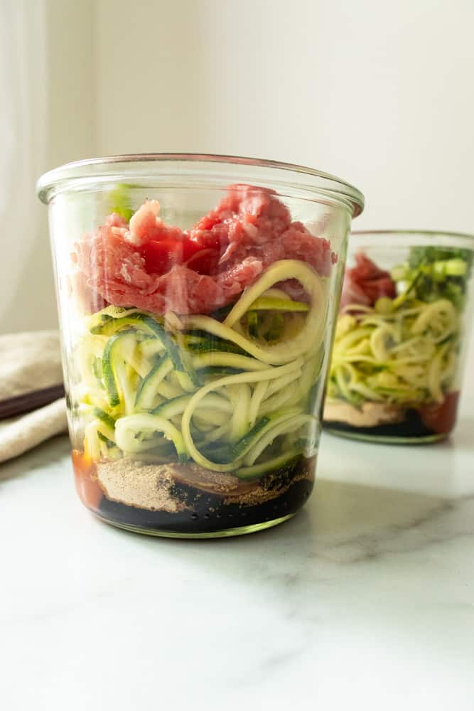 a layered view of beef pho to go