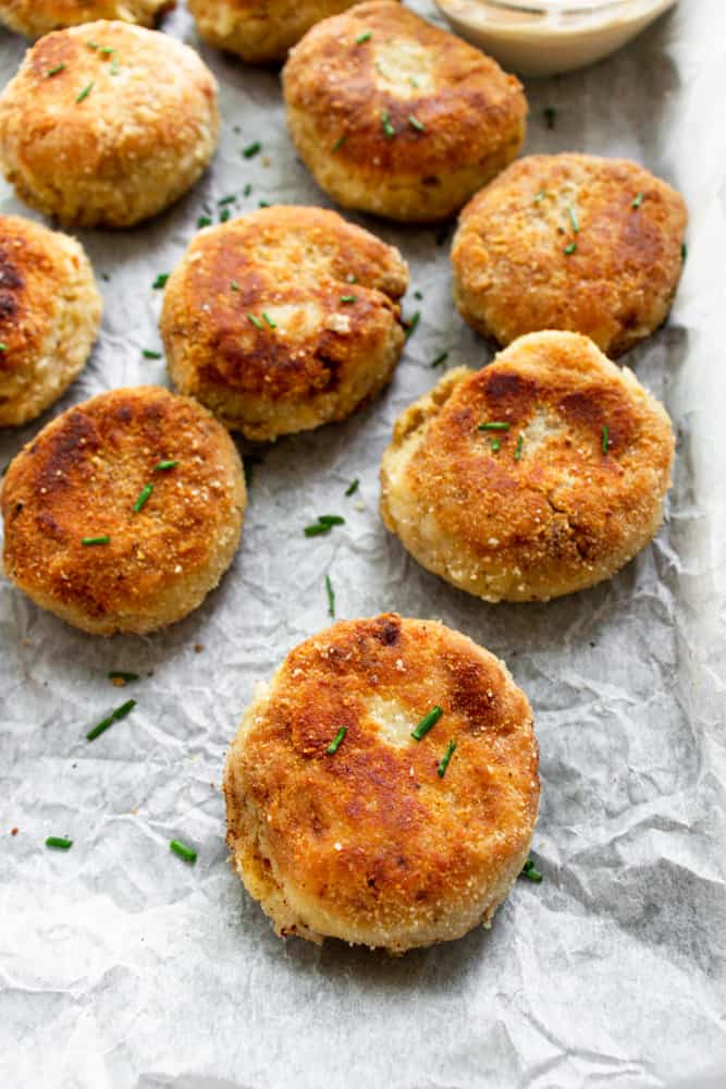 spicy chicken croquettes on a white background