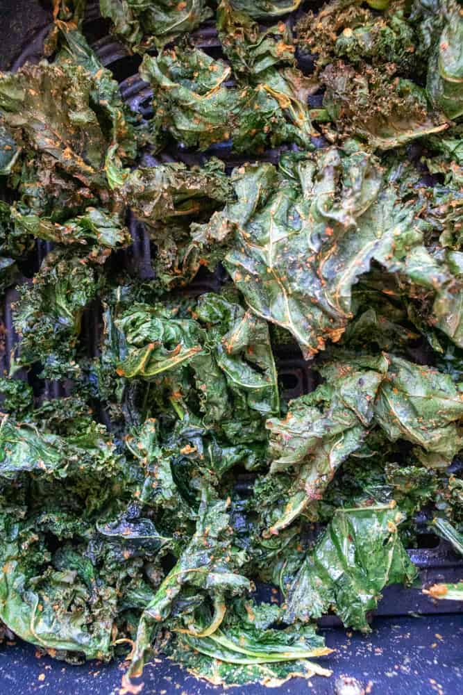 a close up of air fryer kale chips