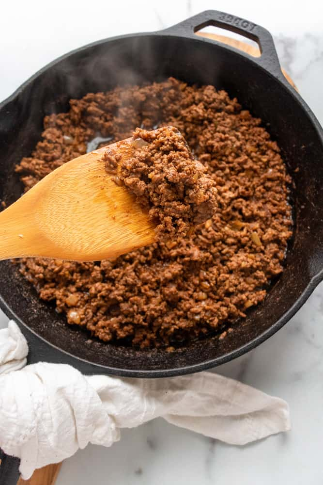 close up of the ground taco meat
