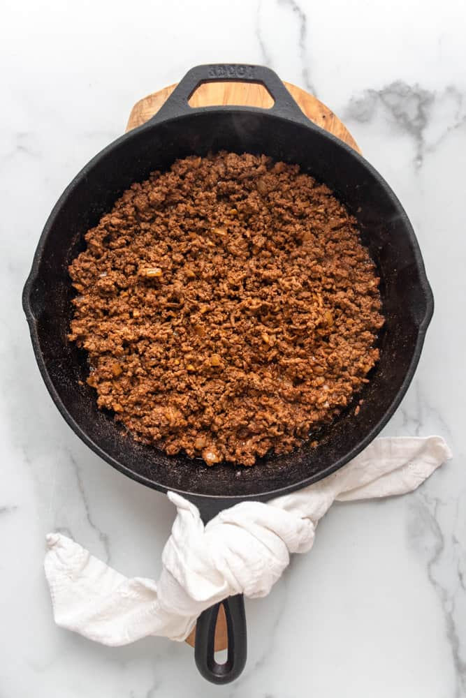 overview of the ground taco meat