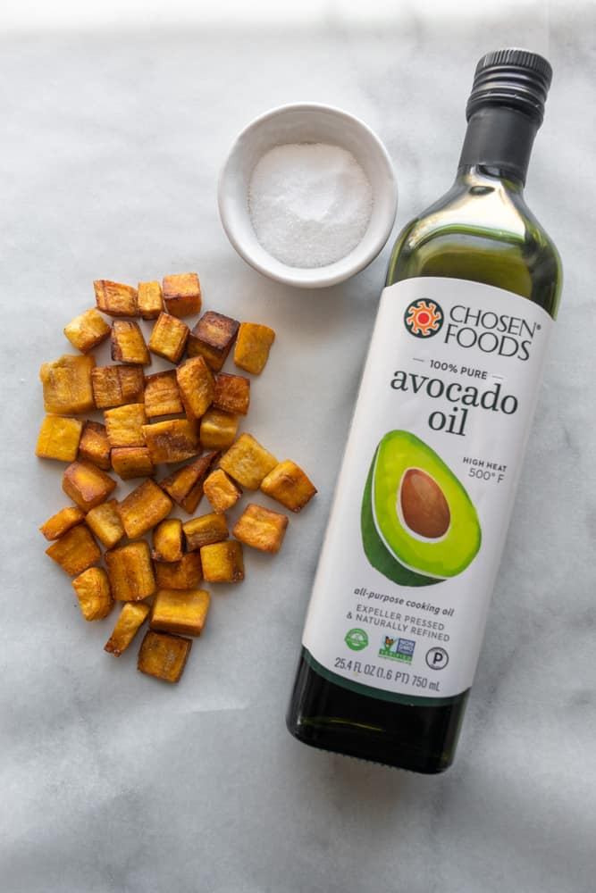 plantain croutons next to avocado oil and kosher salt