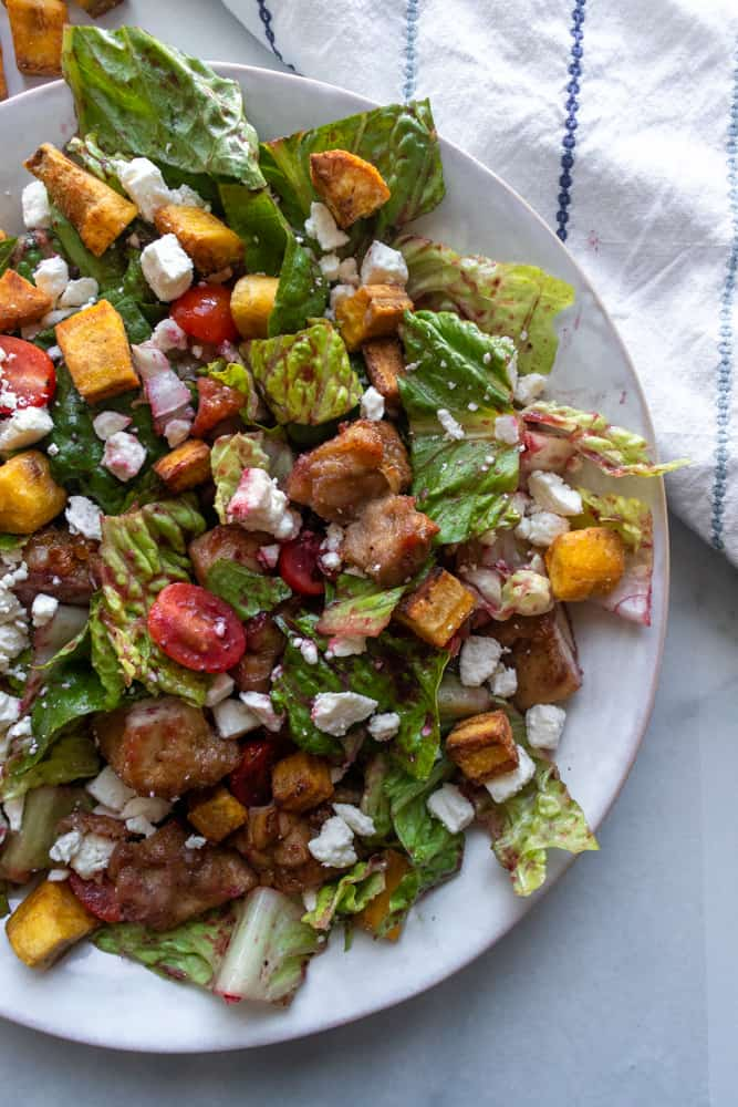 plantain croutons on a salad