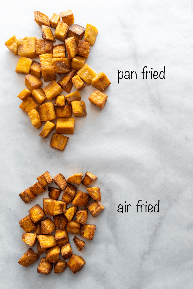 showing two different ways the plantain croutons are cooked, pan fried and air fried