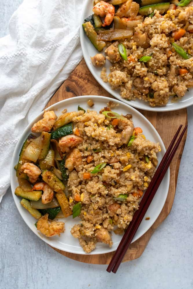 benihana chicken fried rice served with shrimp and zucchini and onions