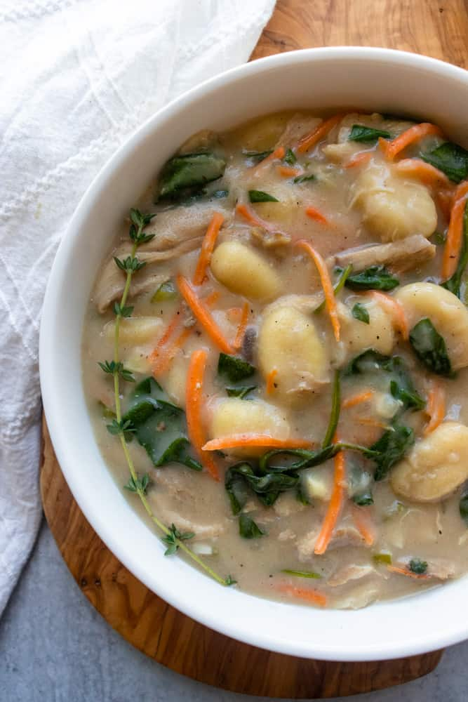 up close view of chicken gnocchi soup