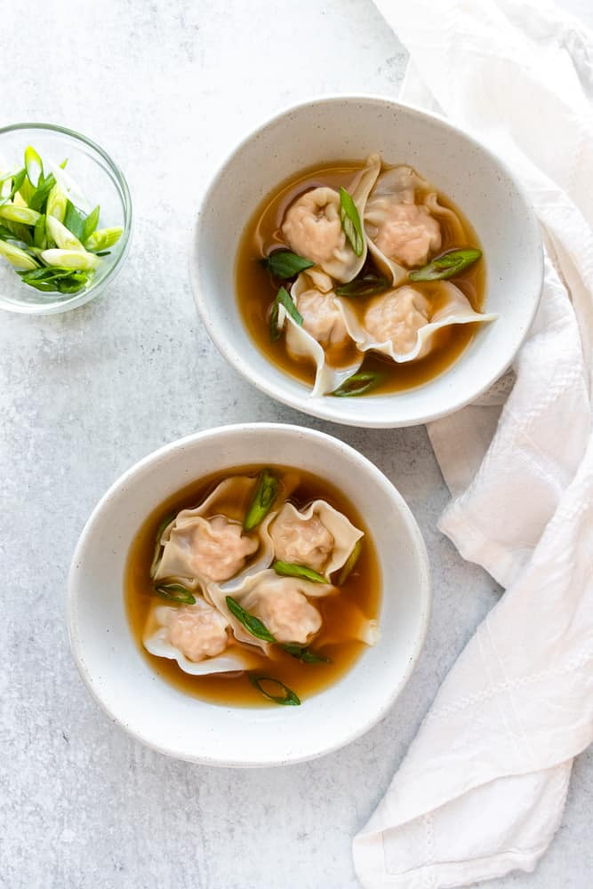 two bowls of easy wonton soup