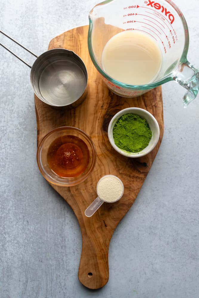 ingredients for the Iced Collagen Matcha Latte laid out