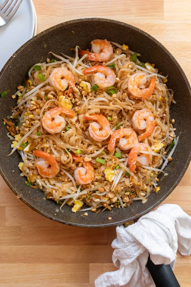 authentic pad thai in a skillet