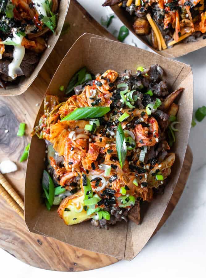 closeup of bulgogi kimchi fries