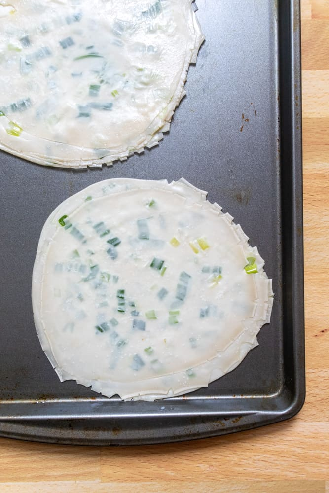 uncooked easy scallion pancakes
