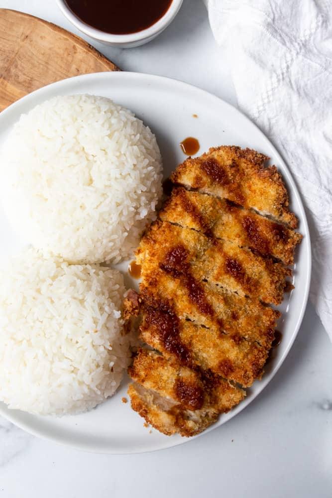 air fryer chicken katsu on a plate up close