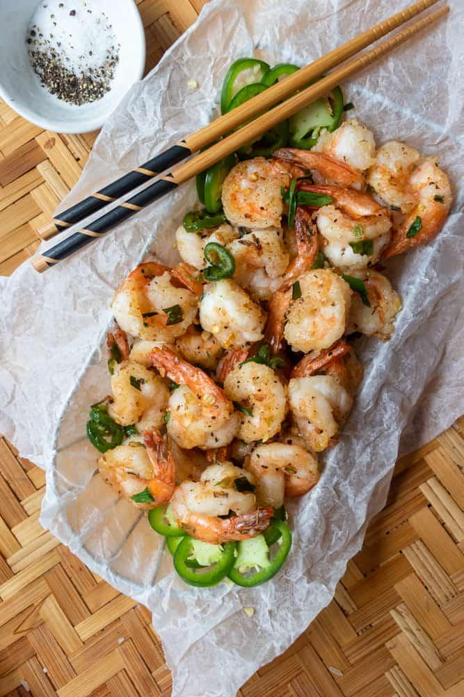 Salt & Pepper Shrimp in a basket with chopsticks