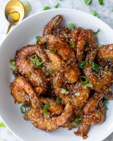a plateful of Garlic Butter Shrimp