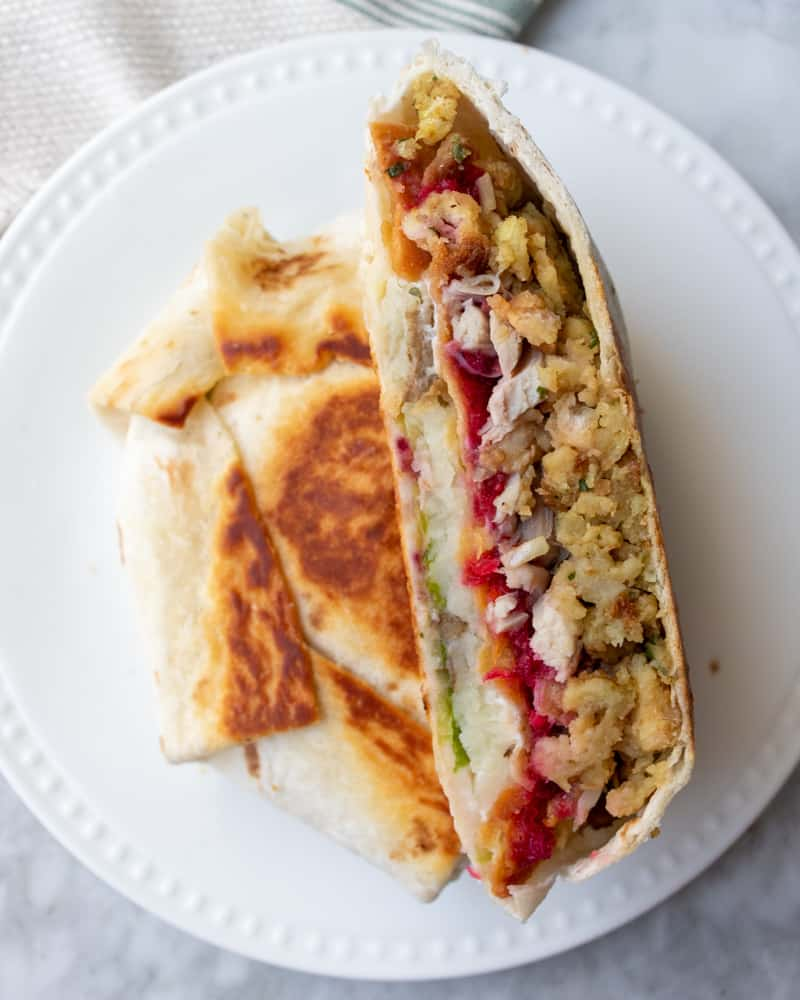 Thanksgiving Crunchwrap Supreme on a plate
