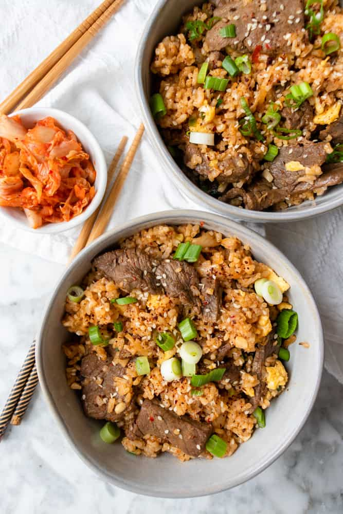 overview of two bowls of Bulgogi Kimchi Fried Rice