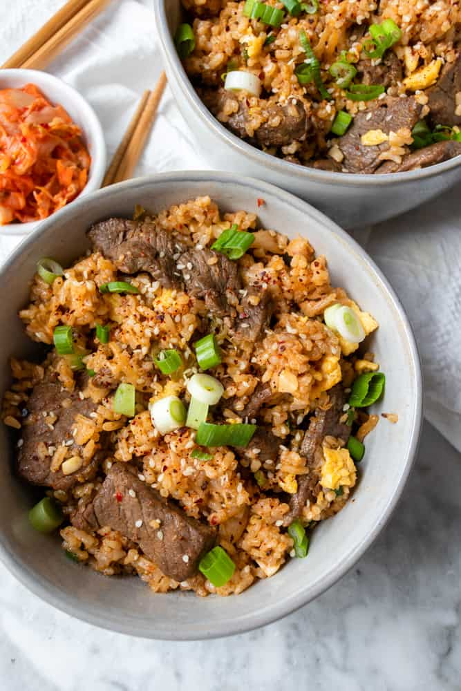 two bowls of Bulgogi Kimchi Fried Rice