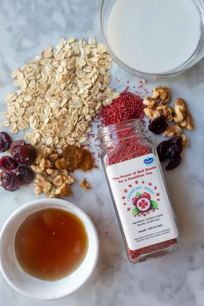 ingredients for Cranberry Walnut Overnight Oats