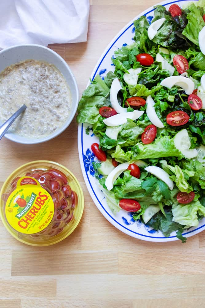 prepped yum salad (lao salad) with the dressing on the side