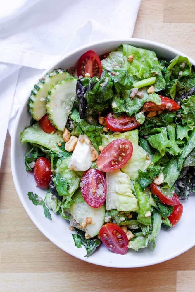 Yum Salad (Lao Salad) mixed in a bowl