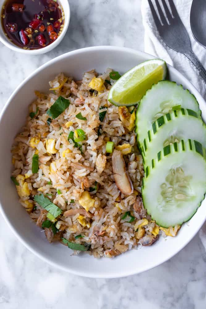 an overview of a bowl of Thai Crab Fried Rice